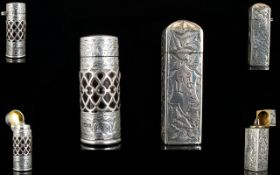 Victorian Period ( Late ) Stunning Solid Silver Cased Scent Bottle of Cylindrical Shape with