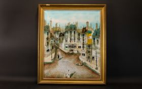 Robert Scott Original Oil On Canvas Mid century illustrative polychrome image depicting a Parisian