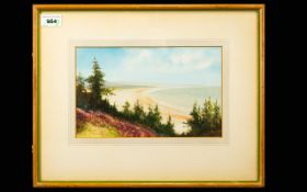 G Trevor Framed Watercolour Depicting the Norfolk coast 6.5 x 10 inches