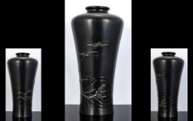 A Japanese Meiji Period Bronze Waisted Form Baluster Vase Signed to body and base,