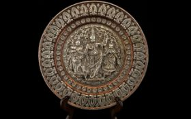 A 19th Century Copper And Silver Indian Hindu Temple Plate Circular form of mixed metal with
