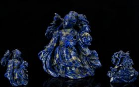 Chinese - Superb Quality Late 19th Century Lapis Lazuli Carved Sculpture of a Bodhisattva Figure