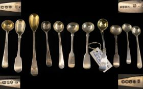 Collection of Thirteen (13) Georgian Silver Condiment Spoon/Ladles all fully hallmarked for