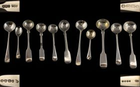 Georgian and Victorian Period Very Good Collection of Silver Condiment Spoons.