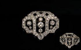 Early 20th Century Belle Époque Diamond Brooch Geometric milgrain set round cut diamonds,