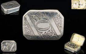 George III Nice Quality - Octagonal Shaped Solid Silver Vinaigrette.