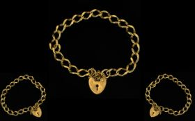 9ct Gold and Bracelet with Attached Heart Shaped Padlock and Safety Chain.