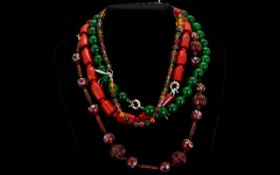 Lovely Collection of Necklaces ( 4 ) In Total, Comprises 1 Red Amber Necklace, 1 Vintage Necklace,