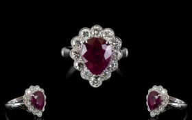 Ladies Superb Quality 18ct White Gold Ruby & Diamond Set Cluster Ring of Pear Shape.