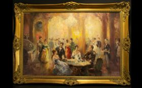 A Mid Century Oil On Canvas Large impasto oil depicting a group of figures at a society ball,