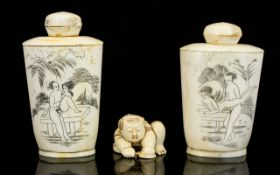 Two Oriental Style Bone Snuff Bottles Each etched with erotic scenes, height, 3 1/2 inches.