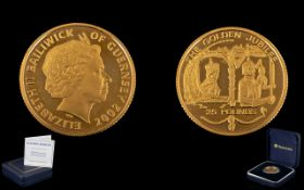 22ct Gold 25 Pounds Proof Coin 2002 Elizabeth II Bailiwick Of Guernsey, The Golden Jubilee,