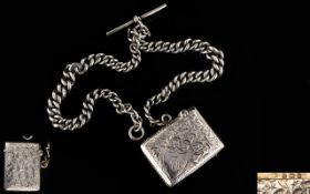 Edwardian Period Silver Hinged Vesta Case with attached double silver Albert chain,