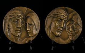 Ecclesiastical Interest Two Signed Early 20th Century Cast Mixed Metal Plaques Brass tone roundels,
