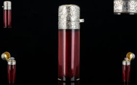 Victorian Period Silver and Ruby Glass Hinged Lidded Cylindrical Shaped Scent Bottle,