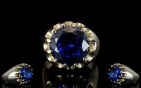 Gents 9ct Gold Single Blue Topaz Set Dress Ring Texas blue top