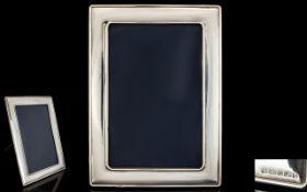 Elizabeth II Silver Photo Frame of Plain Form and Rectangular Shape Mahogany Back,