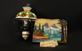 Mixed Lot Comprising A Reproduction Hanging Oil Lamp, Decorative Oil On Marble Depicting Mountain