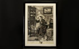 A Framed Etching After The Painting 'The Antiquary' By Walter Dendy Sadler Etched By James Dobie