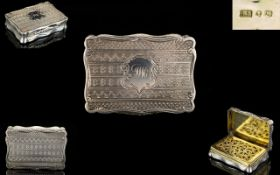 Victorian Period Superb Quality Solid Silver Vinaigrette Box with Gilt Interior,
