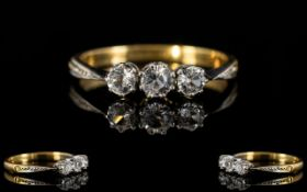 18ct Gold & Platinum Set 3 Stone Diamond Ring of Attractive Form.