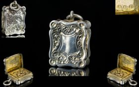 Alfred Taylor Superb Quality Solid Silver Vinaigrette of Small but Very Pleasing Proportions and