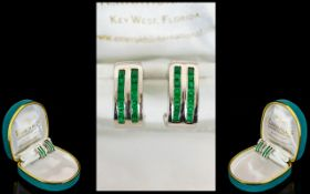 18ct White Gold Fine Pair of Natural Step-Cut Emerald Channel Set French Clip Earrings.