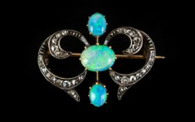 Early Victorian Period 15ct Gold Superb Petite Diamond and Opal Set Brooch with Safety Chain of