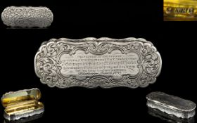 Nathaniel Mills Solid Silver Shaped Snuff Box of Excellent Proportions and Form, Gilt Interior,