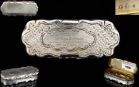 Early Victorian Period Nice Quality Solid Silver / Heavy Hinged Snuff Box of Very Pleasing Form.
