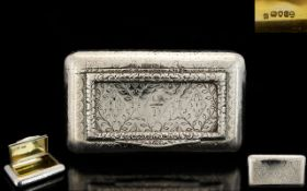 George III - High Quality Rare Solid Silver Hinged Lidded Snuff Box with Gilt Interior and Pleasing