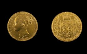 Queen Victoria Young Head / Shield Back 22ct Gold Full Sovereign. Date 1862.