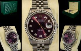 Rolex Oyster Perpetual Gents S/S Date-Just Diamond Set Gents Chronograph Wrist Watch with Jubilee