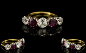 18ct Gold and Platinum Attractive 5 Stone Ruby and Diamond Set Ring, From The 1920's / 1930's.