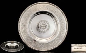 A Magnificent Late 19th Century Solid Silver Alms Dish Makers Mark for Samuel Smith,