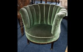 Early 20th Century Tub Chair - of circular form with upholstered scallop back,