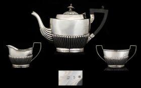 Victorian Period Solid Silver 3 Piece Ba