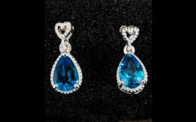 Swiss Blue Topaz Pendant Earrings, pear