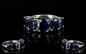 Sapphire Five Stone Band Ring, five oval