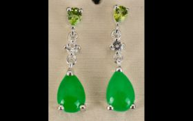 Green Jade, Peridot and White Topaz Drop