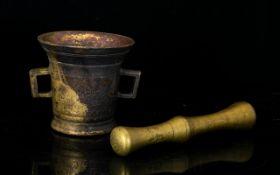 Antique Bronze Mortar And Pestle Cast Br