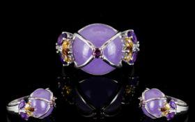 Purple Jade, Amethyst, Garnet and Citrin