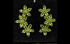 Peridot Triple Flower Earrings, each ear