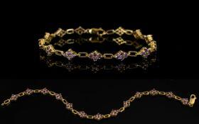 9ct Gold Gemset Bracelet Lozenge form li