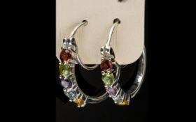 Multi Gemstone Hoop Earrings, a red garn