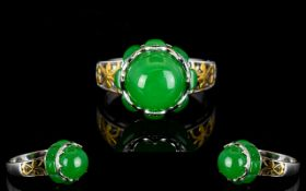 Green Jade Crowned Ring with White Zirco