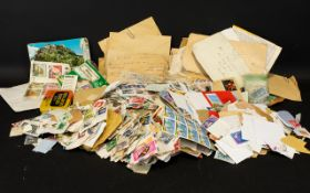 Carrier Bag Full of Mixed Stamps, on an