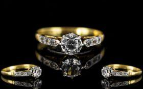 18ct Gold and Platinum Diamond Set Ring,
