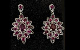 Ruby Ovoid Cluster Drop Earrings, each e