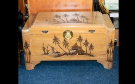 Oriental Carved Coffer - of traditional square form with hinged lid and carved palm tree detail to
